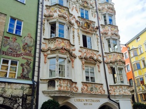 Some of the ornate baroque and painted buildings in Innsbruck's Old Town