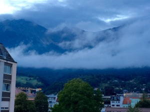 An evening view of the Austrian Alps from our hotel room