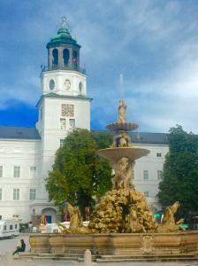 Salzburg's New Residence and carillon look upon the magnificent fountain on Residence Square