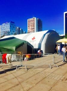 The refugee assistance tent set up just outside Salzburg's train station
