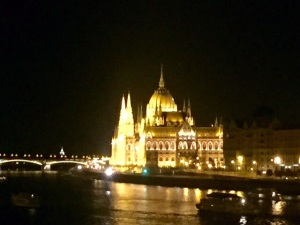 The same view of Budapest by night