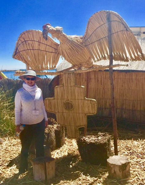 Kathy on a floating island on Lake Titicaca, Peru - June 18, 2017