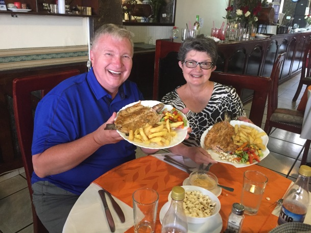 Wayne and Kathy enjoy a trout dinner in Cotacachi, Ecuador, May 2017.