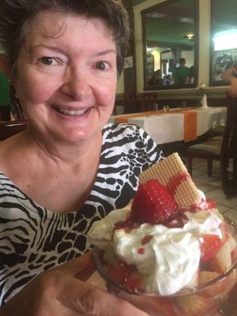 Strawberry dessert in Cotacachi, Ecuador