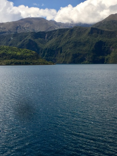 Laguna Cuicocha, a crater lake at the foot of Cotacachi Volcano in the Ecuadorian Andes
