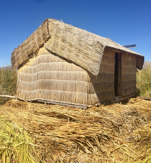 Home made of Tortola reeds on Floating Island of Lake Titicaca, Peru